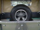 Spare wheel in pickup bed